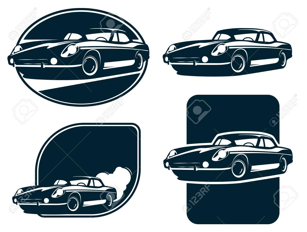 Classic Car Silhouette Labels Vintage Retro Car Classic Sport