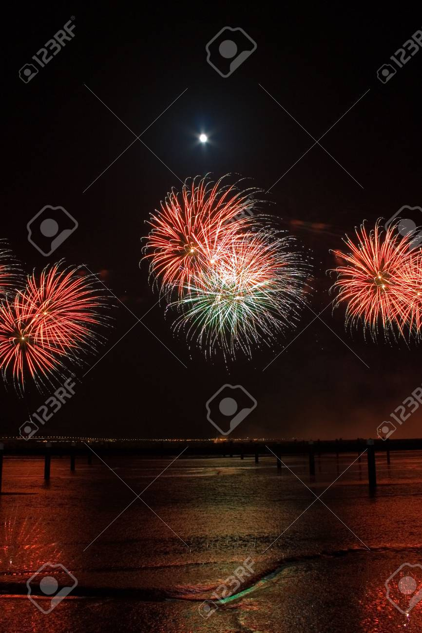 a festival of firework in lisbon/portugal beautifull colors and lines Stock Photo - 775769