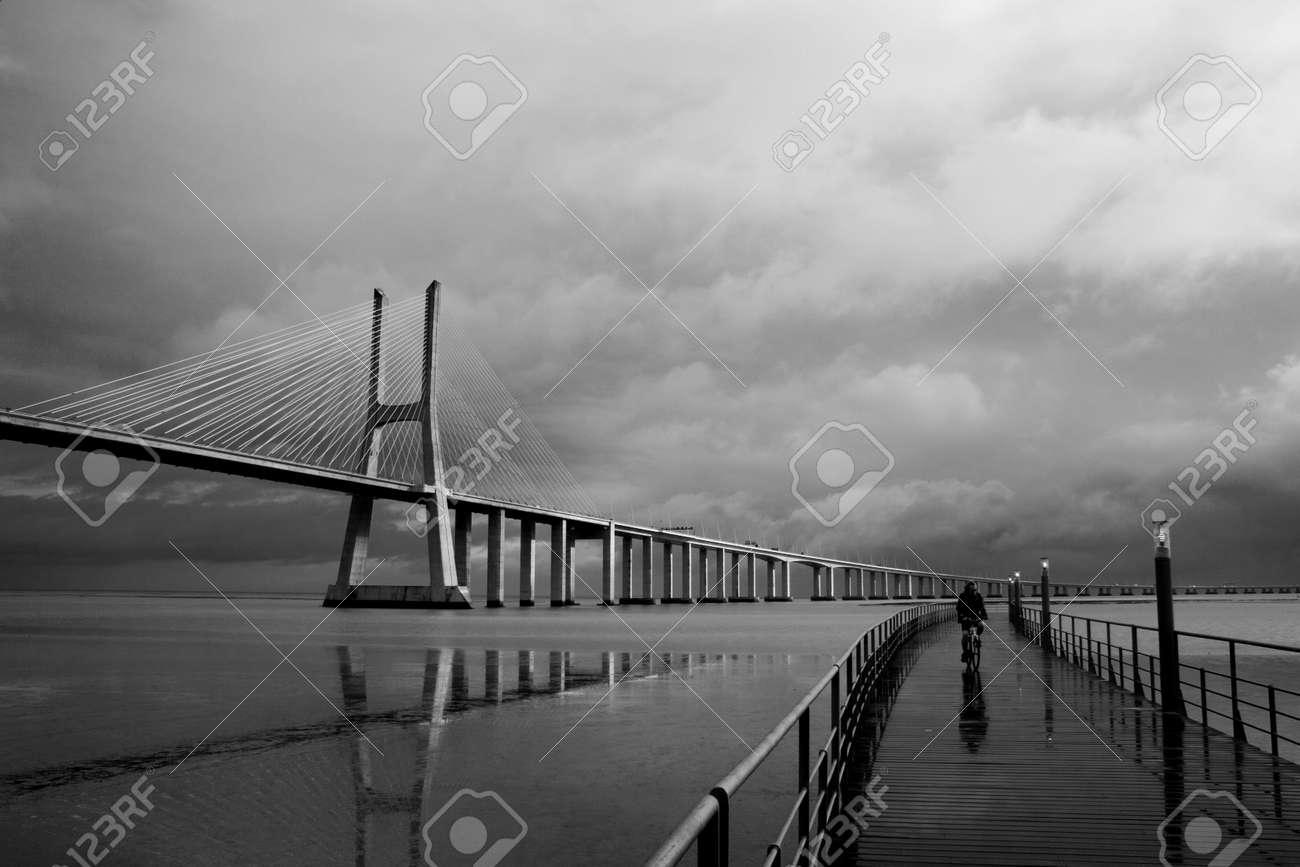 the bridge vasco da gama in lisbon portugal Stock Photo - 776472