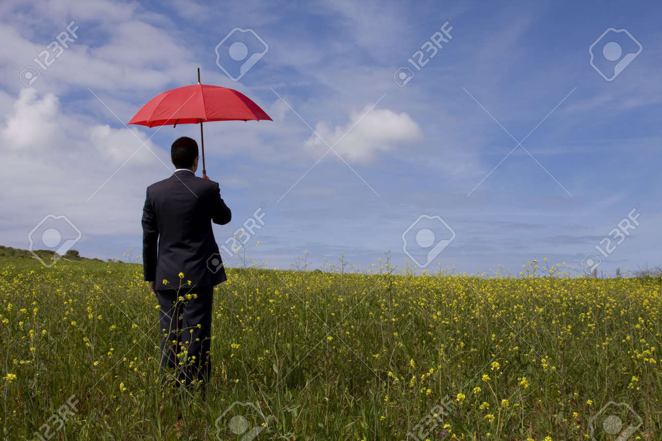 The insurance man in the field, giving you the best protection everywhere (with copy space) Stock Photo - 2740475