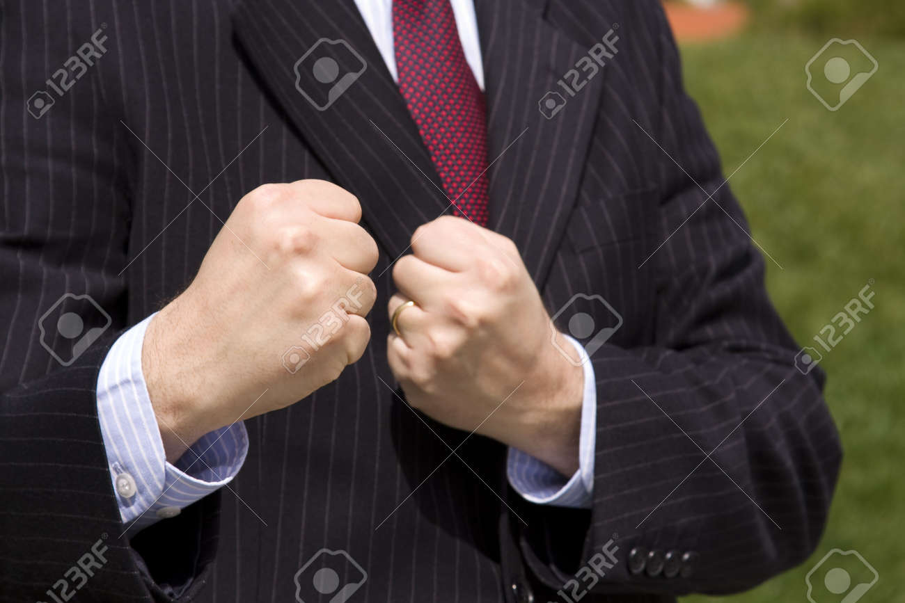 a angry businessman ready to fight (selective and soft focus) Stock Photo - 3023857