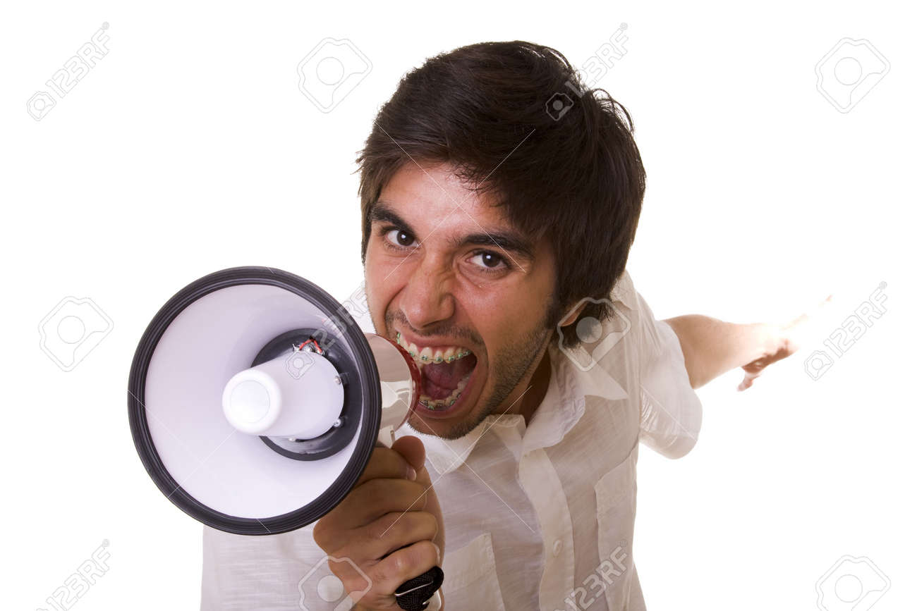 young men shouting at the megaphone (selective focus) Stock Photo - 3663515