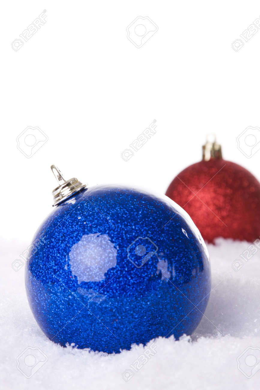 christmas white background, with snow and christmas balls (selective focus) Stock Photo - 3845063