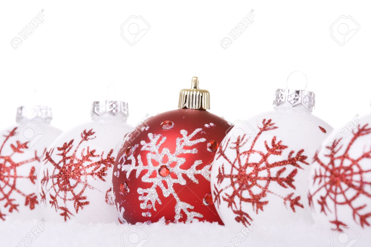 Red And White Christmas Ornament Background (selective Focus ...