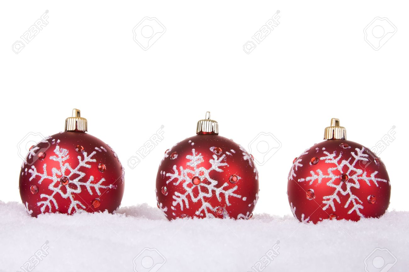 Red And White Christmas Ornament Background (selective Focus) Stock ...