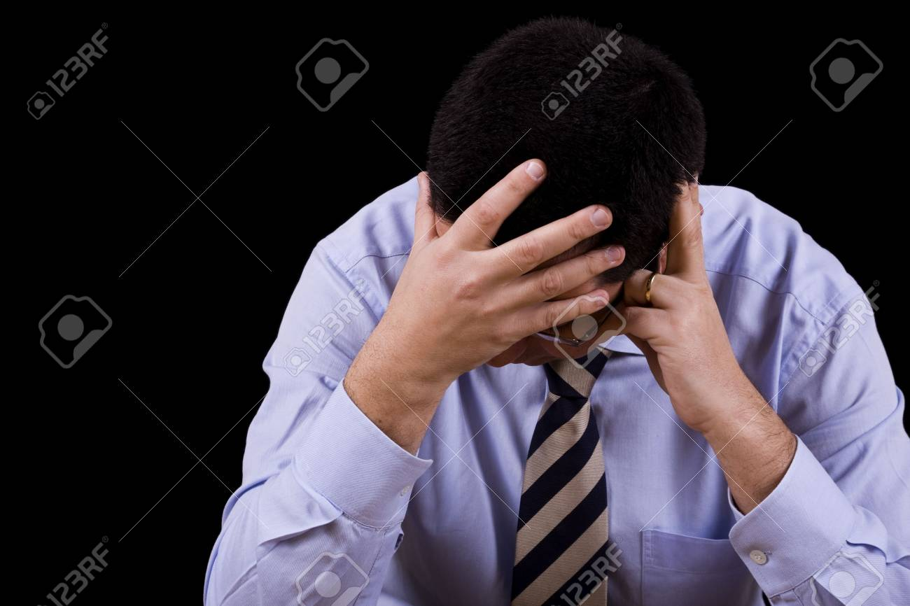 businessman with a depression (isolated on black) Stock Photo - 4572434