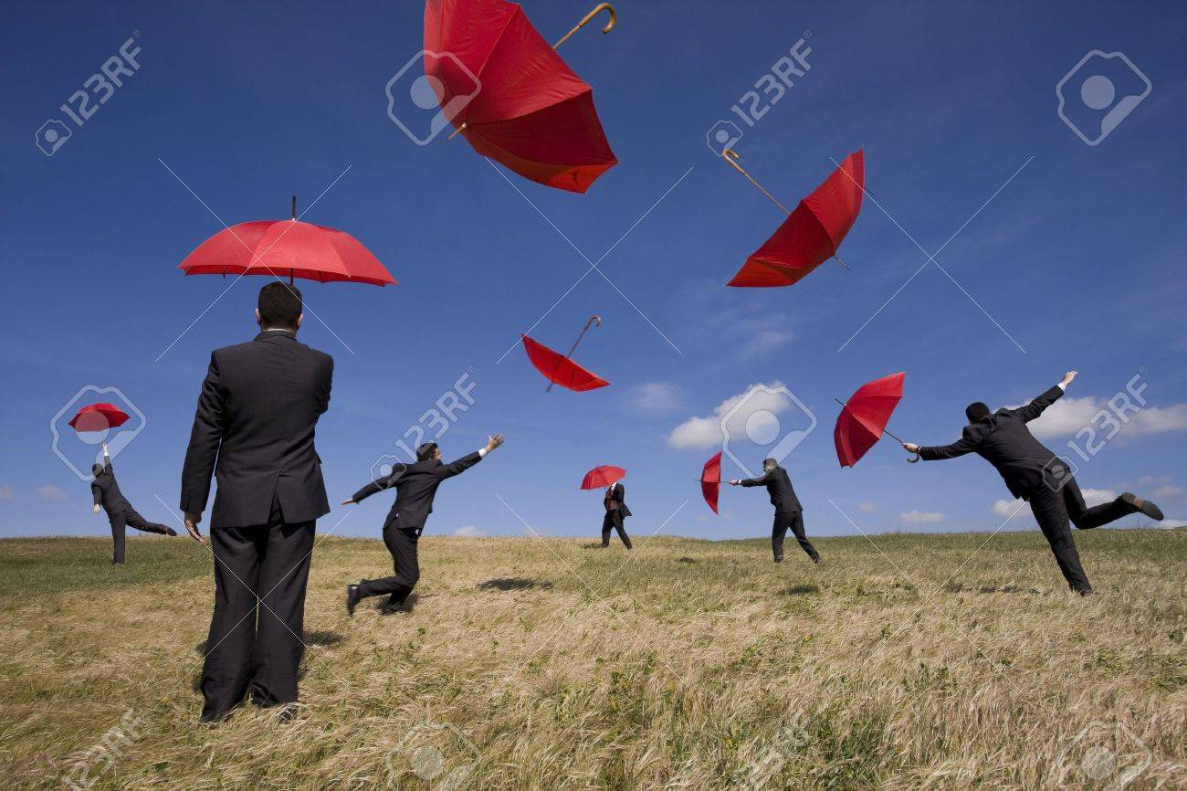 businessman find the best insurance solution out there (some sharp, some extreme movement with motion blur; it's all the same person) Stock Photo - 4668753
