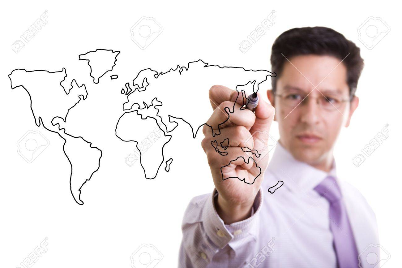 businessman drawing the world map in a whiteboard (selective focus) Stock Photo - 4951568