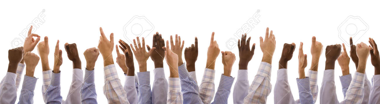 multiracial hands gesturing together (isolated on white) Stock Photo - 4997994
