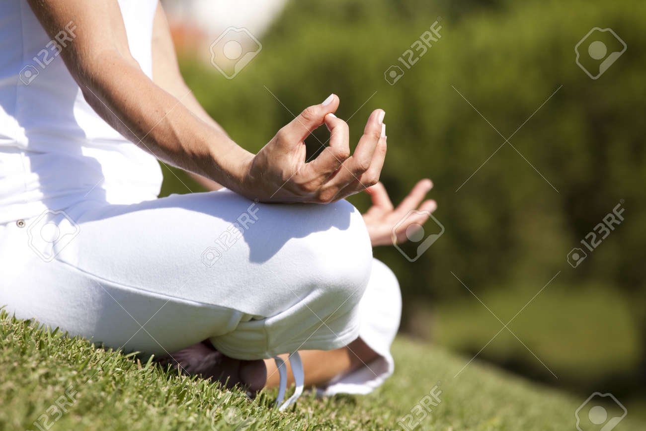 detail of a woman hands in yoga pose (selective focus) Stock Photo - 5162714