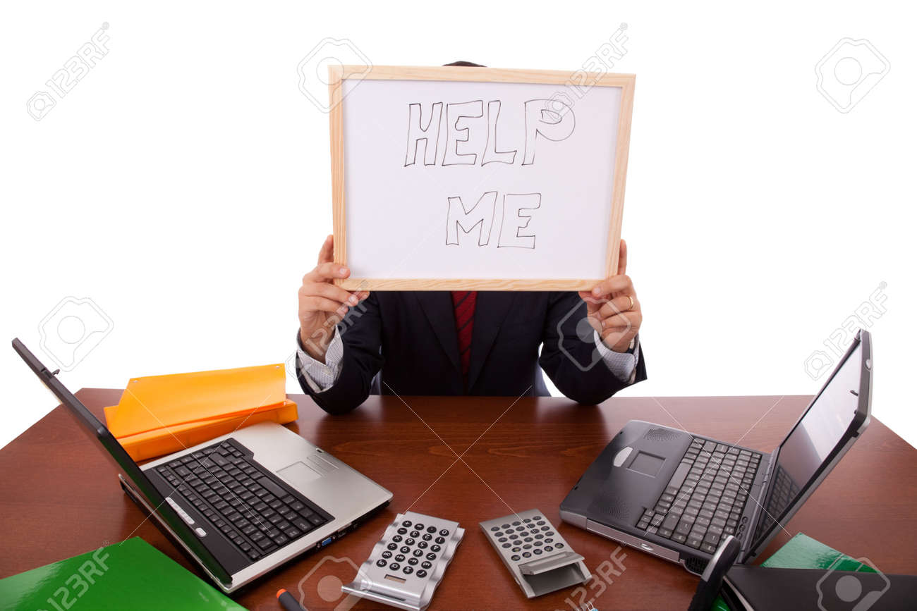 businessman asking for help (hiding his head) Stock Photo - 5827076