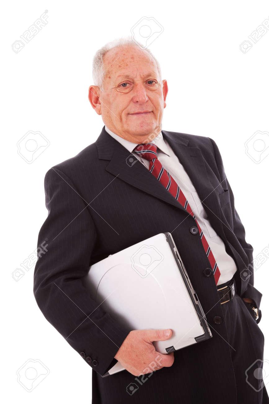 senior businessman holding a laptop (isolated on white) Stock Photo - 5978949