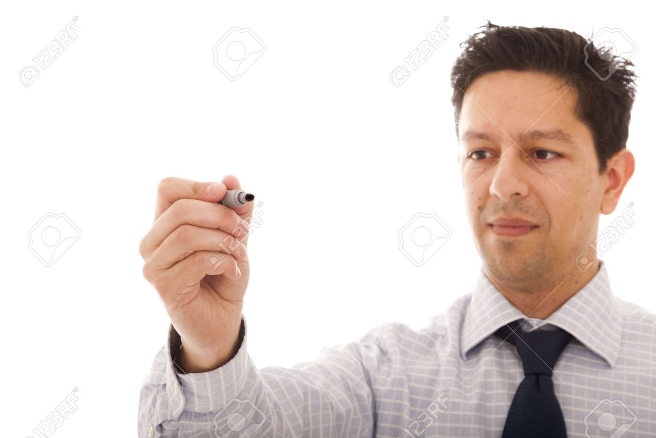 businessman writing at the whiteboard (isolated on white) Stock Photo - 6317125