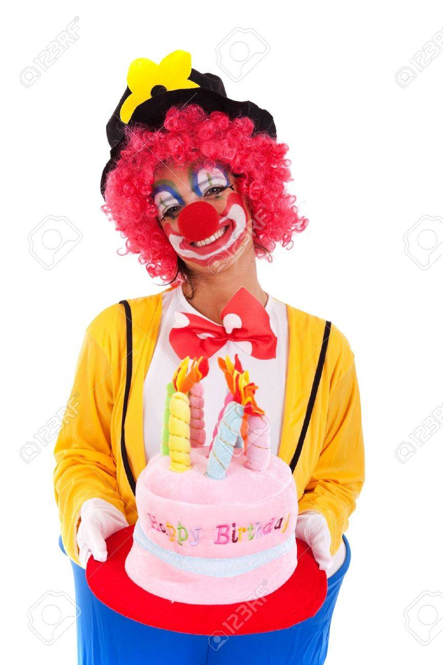 Stupendous Funny Clown Holding A Birthday Cake Hat Isolated On White Stock Funny Birthday Cards Online Inifodamsfinfo