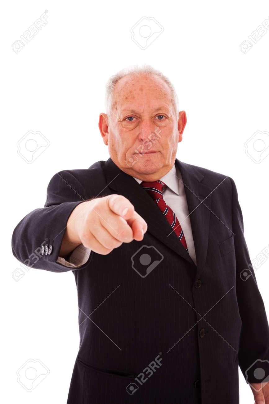 senior businessman pointing to you (isolated on white) Stock Photo - 6333997