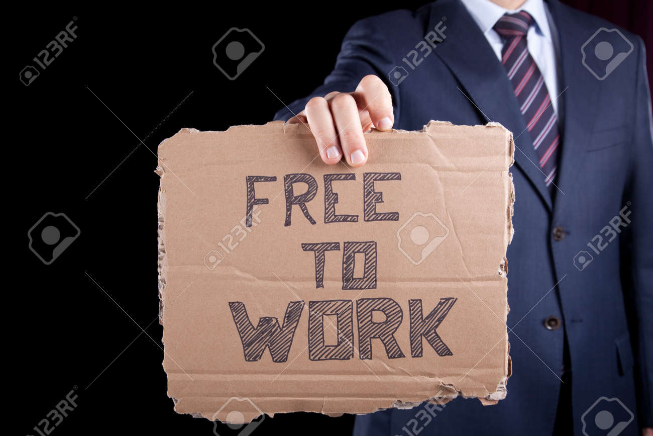 unemployed unrecognizable businessman showing a message in a cardboard that he needs a job Stock Photo - 6954387