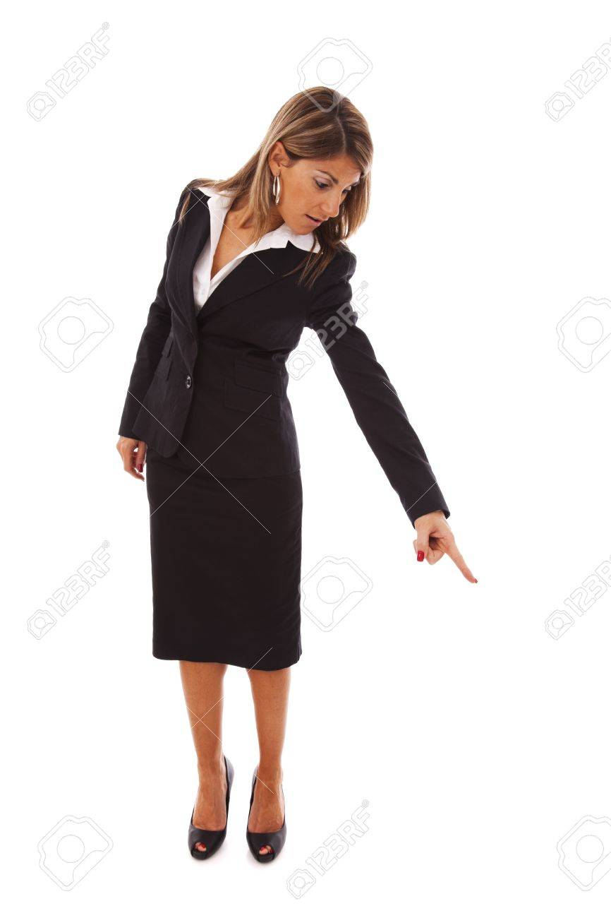 businesswoman pointing down (isolated on white) Stock Photo - 6953493