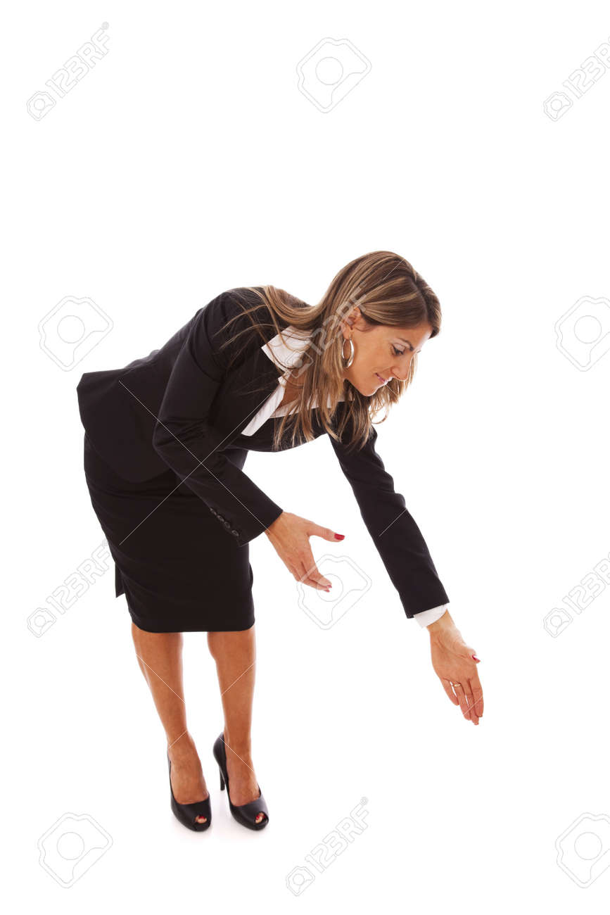 businesswoman bending over to help or grab something Stock Photo - 6953722