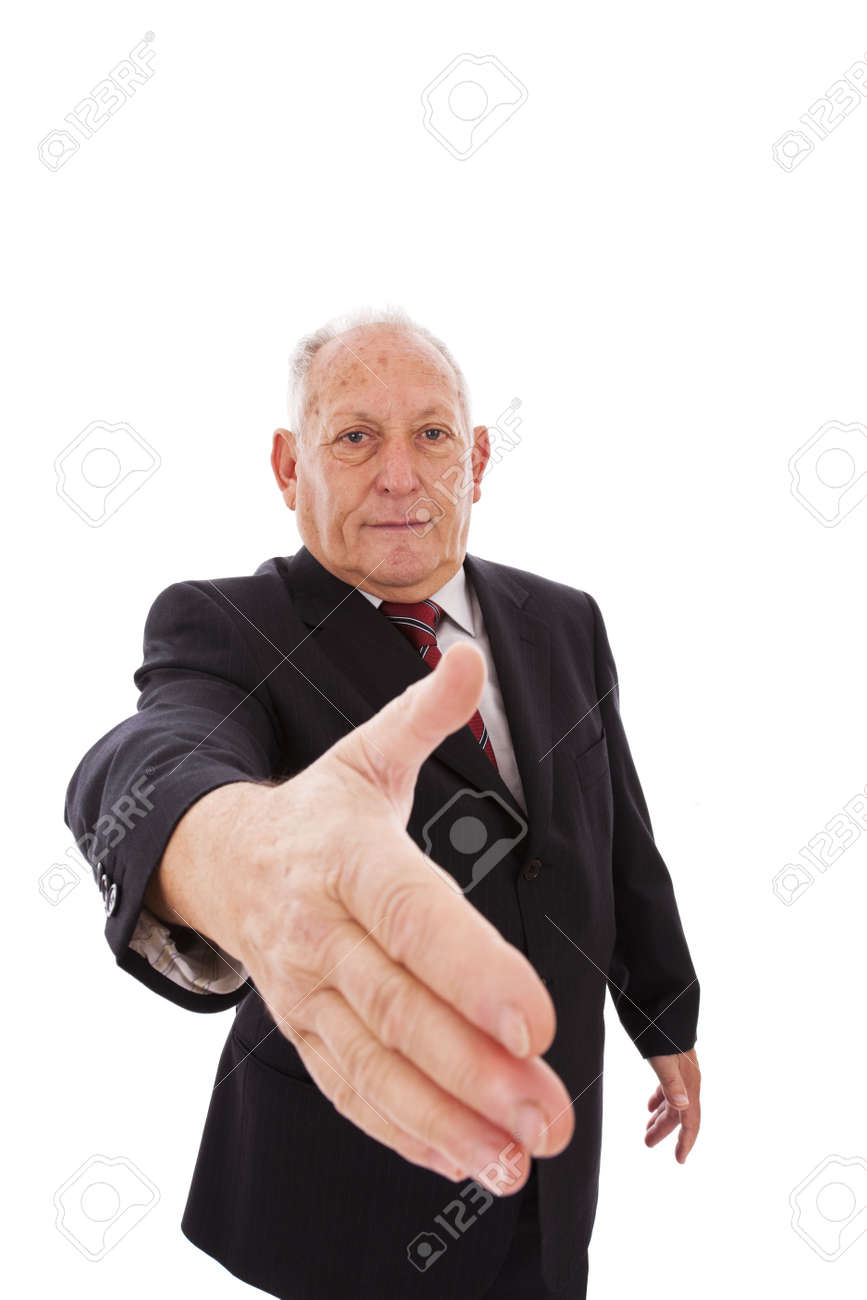 senior businessman making a deal with you (isolated on white) Stock Photo - 6954067