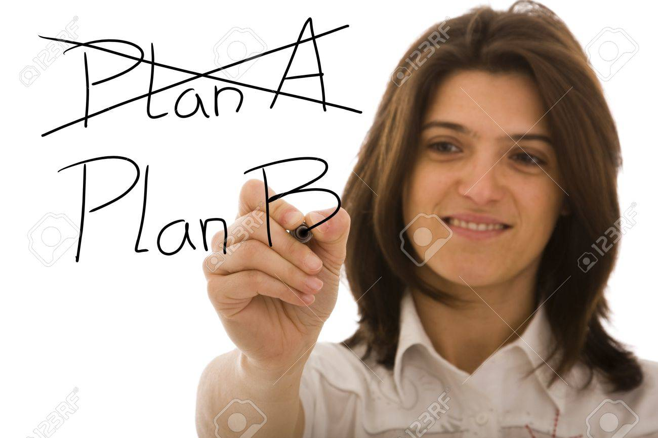 Businesswoman making choosing her strategy with the second plan Stock Photo - 6952937