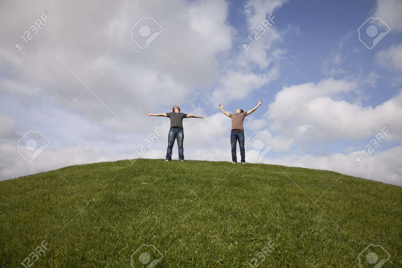two young teenager enjoying the fresh air in the park Stock Photo - 7812219