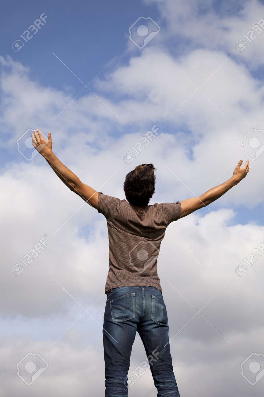 young teenager with the arms outstretched in outdoor Stock Photo - 7810714