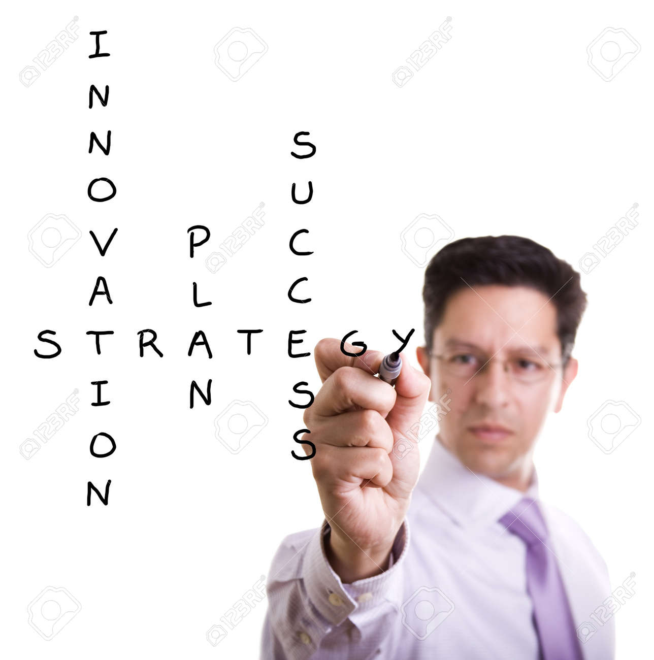 Businessman solving a strategy plan to be successful in his business Stock Photo - 7809881