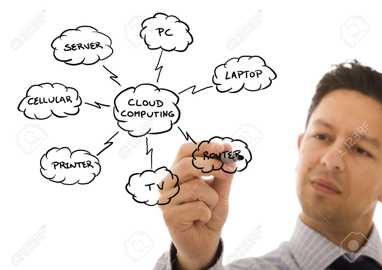 Businessman drawing a Cloud Computing schema on the whiteboard (selective focus) Stock Photo - 7809978
