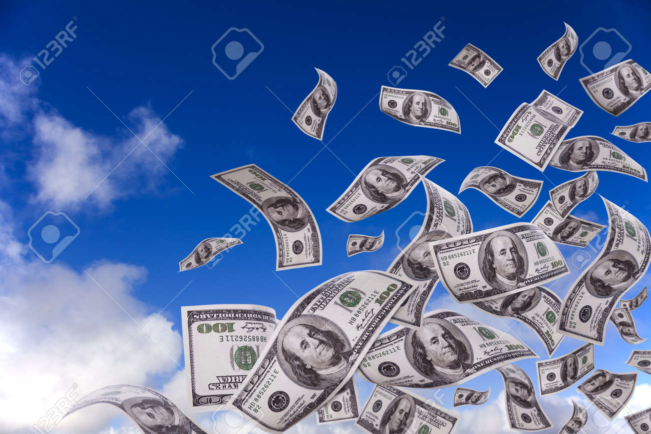 lots of dollar bills falling from the sky - 8027629