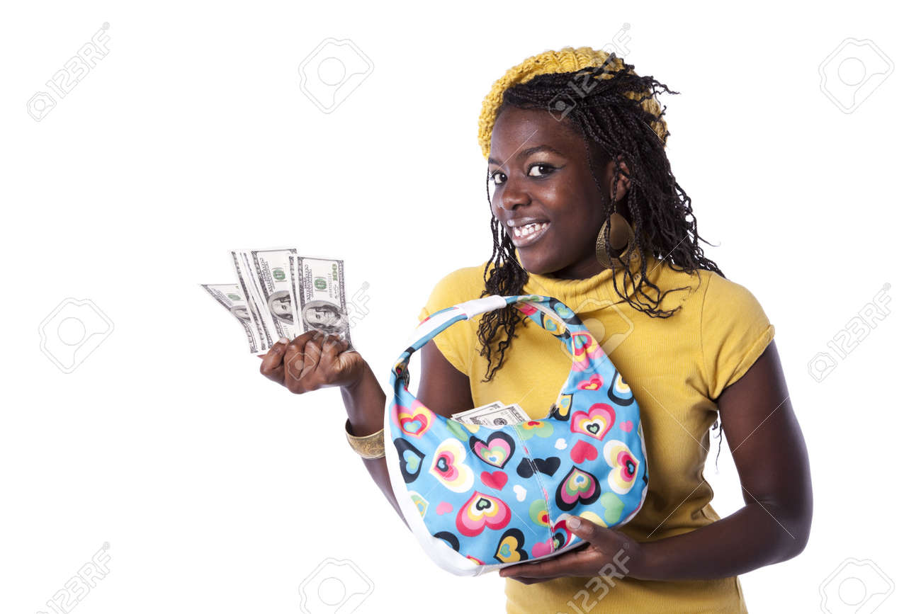 young african woman showing money from her wallet (isolated on white) Stock Photo - 8174542