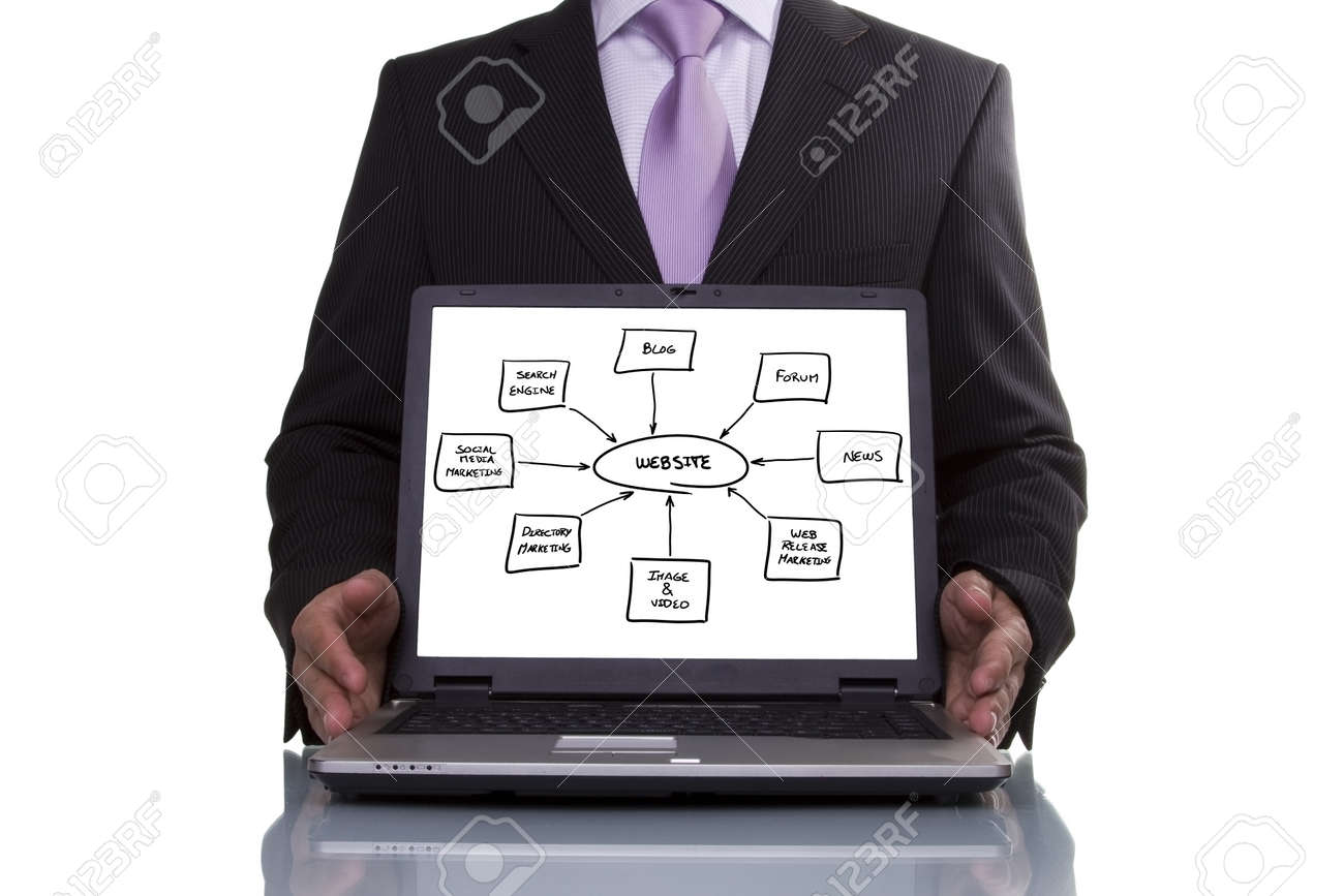 Businessman showing a website diagram  on the laptop Stock Photo - 8172062