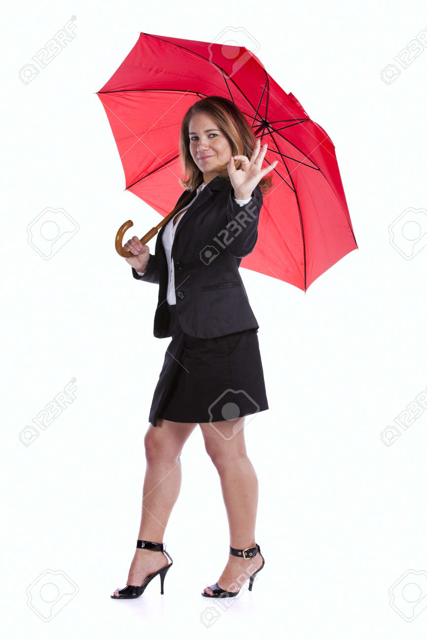 insurance businesswoman holding a red umbrella Stock Photo - 10035638