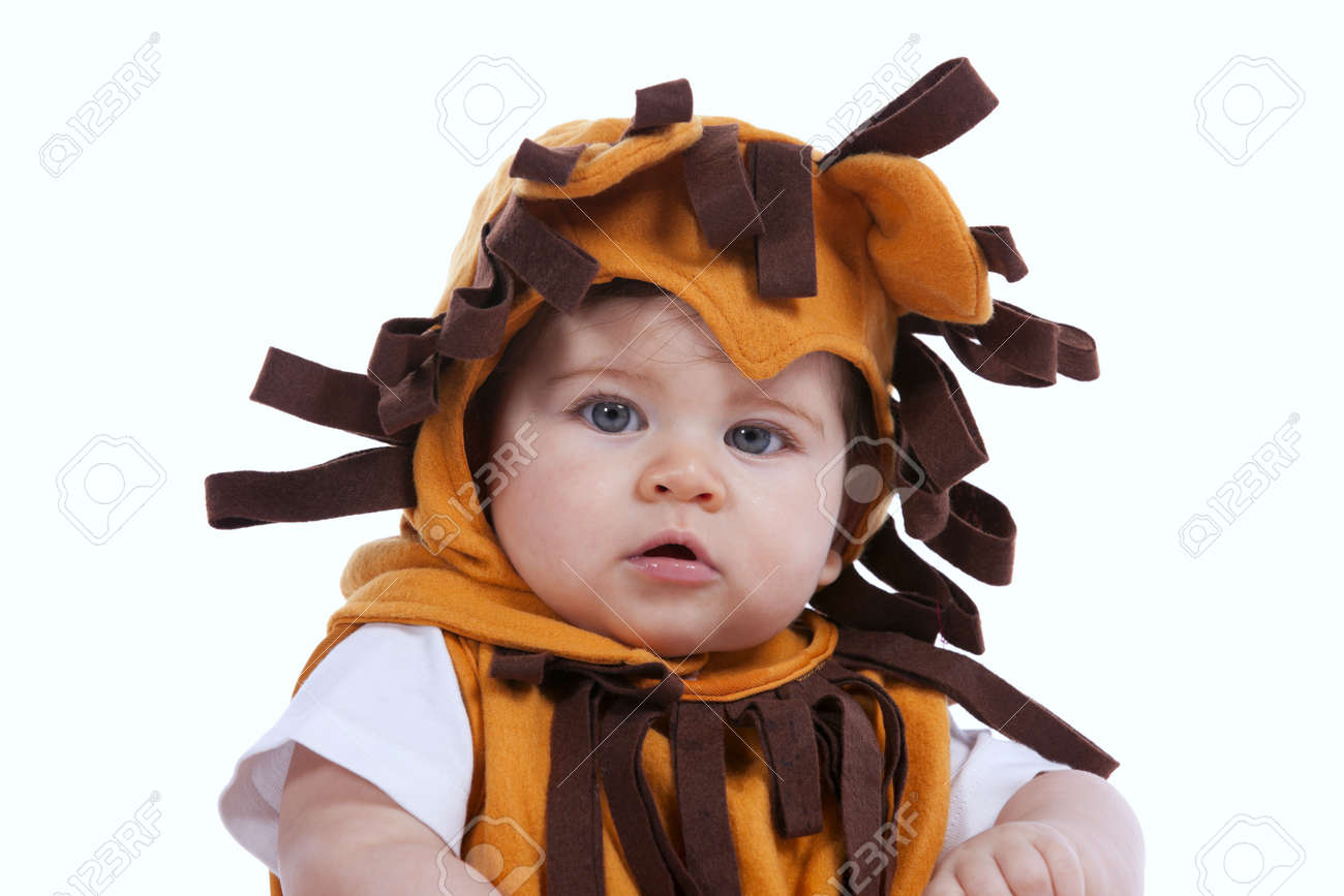 Handsome Little Baby Boy With A Funny Lion Mask (isolated On ...