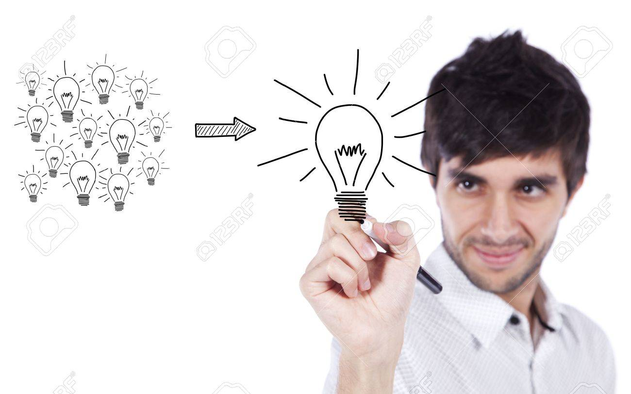 Man drawing a message in a whiteboard, how to manage creativity turning many ideas in one good idea (selective focus) Stock Photo - 16466152
