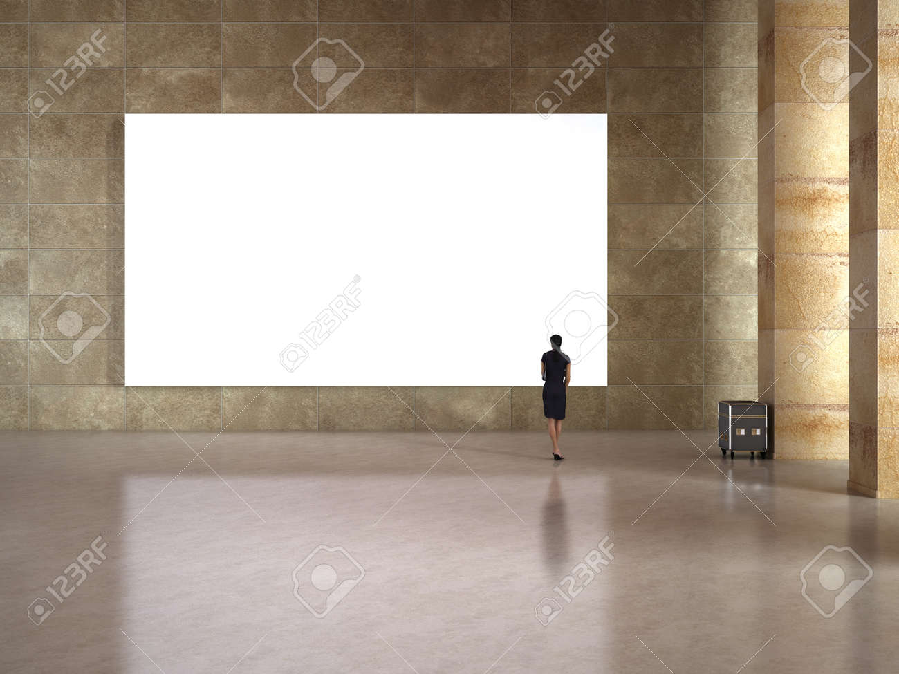 Woman look at the blank frame in art gallery Stock Photo - 13536208