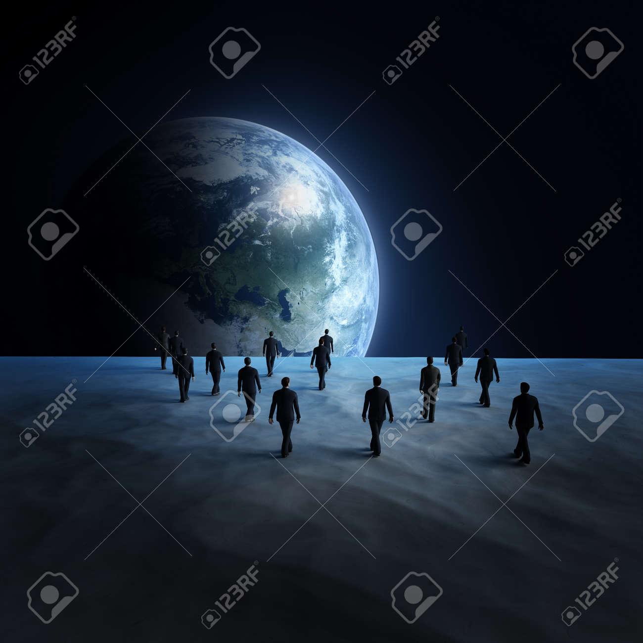 People on the moon Stock Photo - 19492106