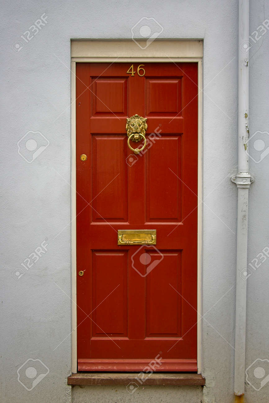 Red Front Door - The Picture Was Taken In London. Stock Photo ...