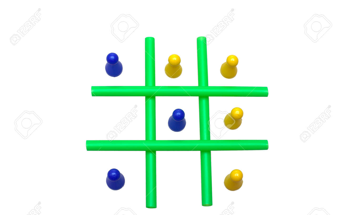 Photo of a Tic Tac Toe game in progress. The objects are isolated over white. Stock Photo - 2047489