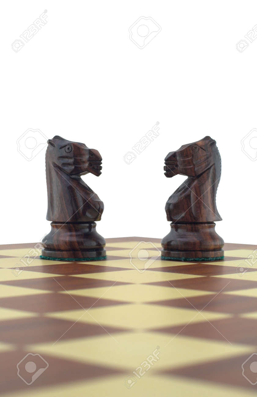 Chess pieces - two black knights Stock Photo - 2067912