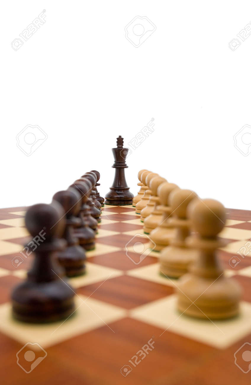 Chess pieces - a king guarded by two rows of pawns. Stock Photo - 2662537