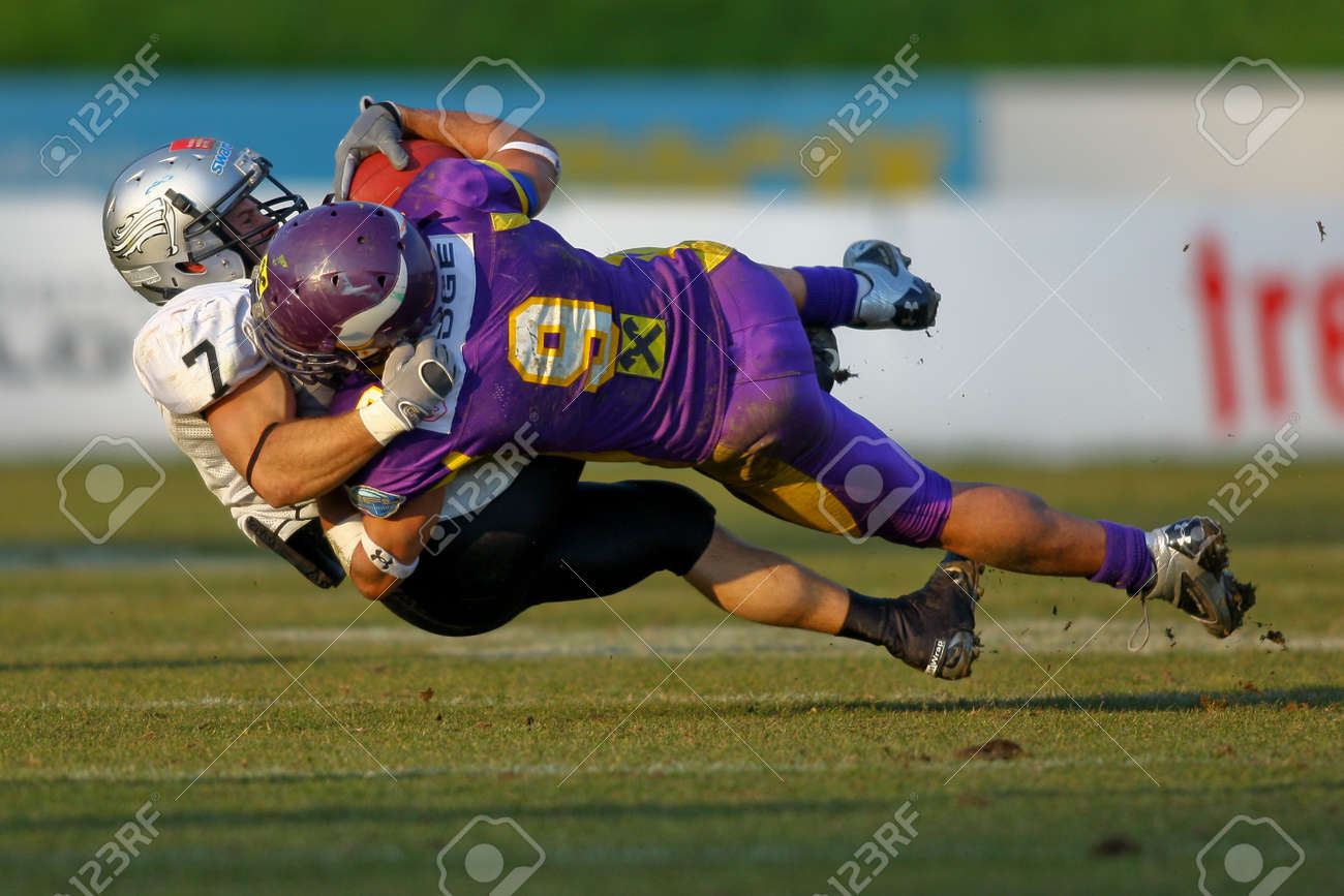 Austrian Football League - Vienna Vikings playing against the Tirol Raiders in Vienna - April 2008 Stock Photo - 8161021