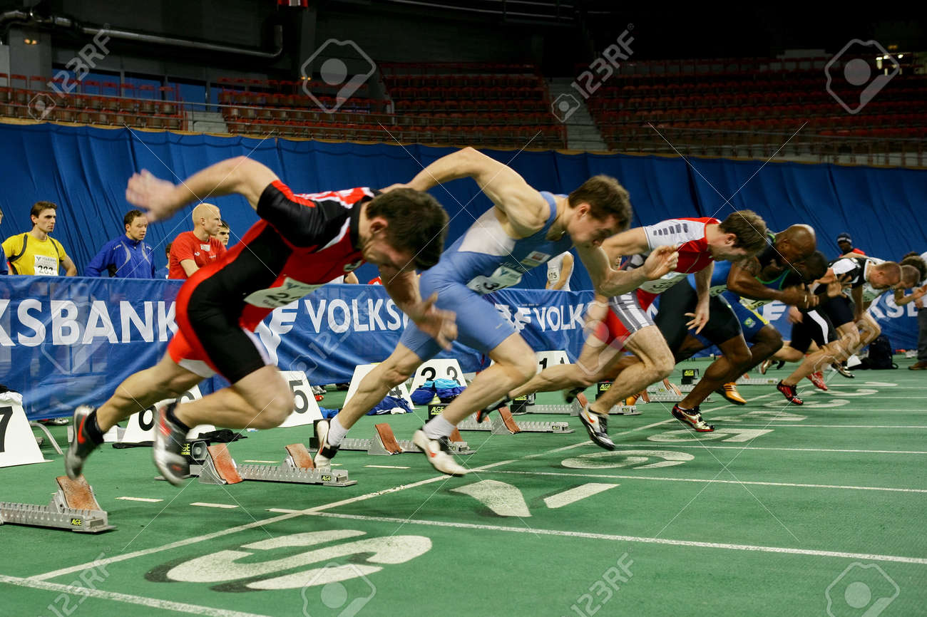 VIENNA, AUSTRIA - FEBRUARY 3: International indoor track and field meeting in Vienna: Start of the men's 60m sprint event. Stock Photo - 8194666