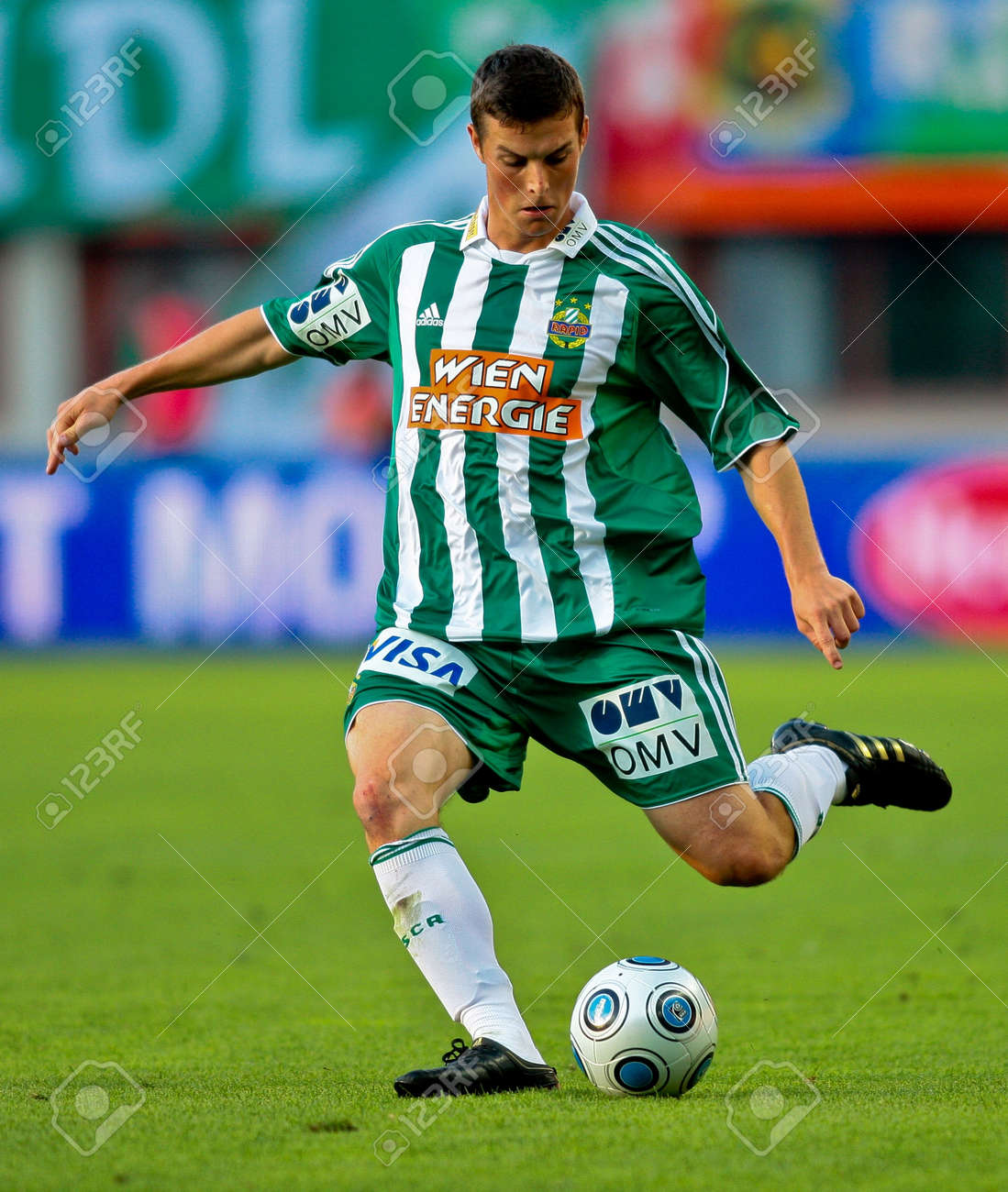 VIENNA,  AUSTRIA - JULY 19 Friendship game between SK Rapid and Liverpool FC: Midfielder Christopher Drazan (#19, Rapid) and his team win 1:0 on July 19, 2009 in Vienna, Austria. Stock Photo - 8448812