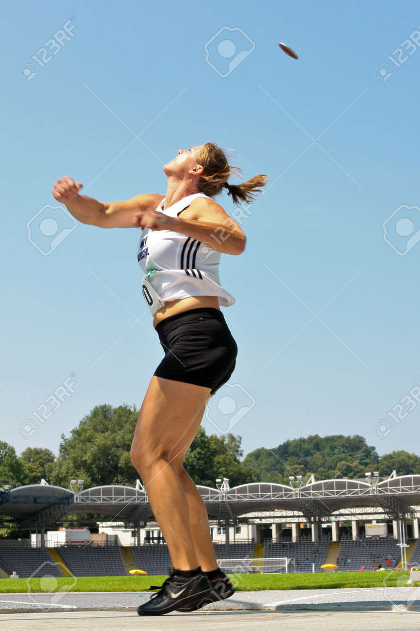 LINZ, AUSTRIA - AUGUST 2 Austrian track and field championship: Sonja Spendelhofer (#120) places second in the women's discus throw event on August 2, 2009 in Linz, Austria. Stock Photo - 8448833