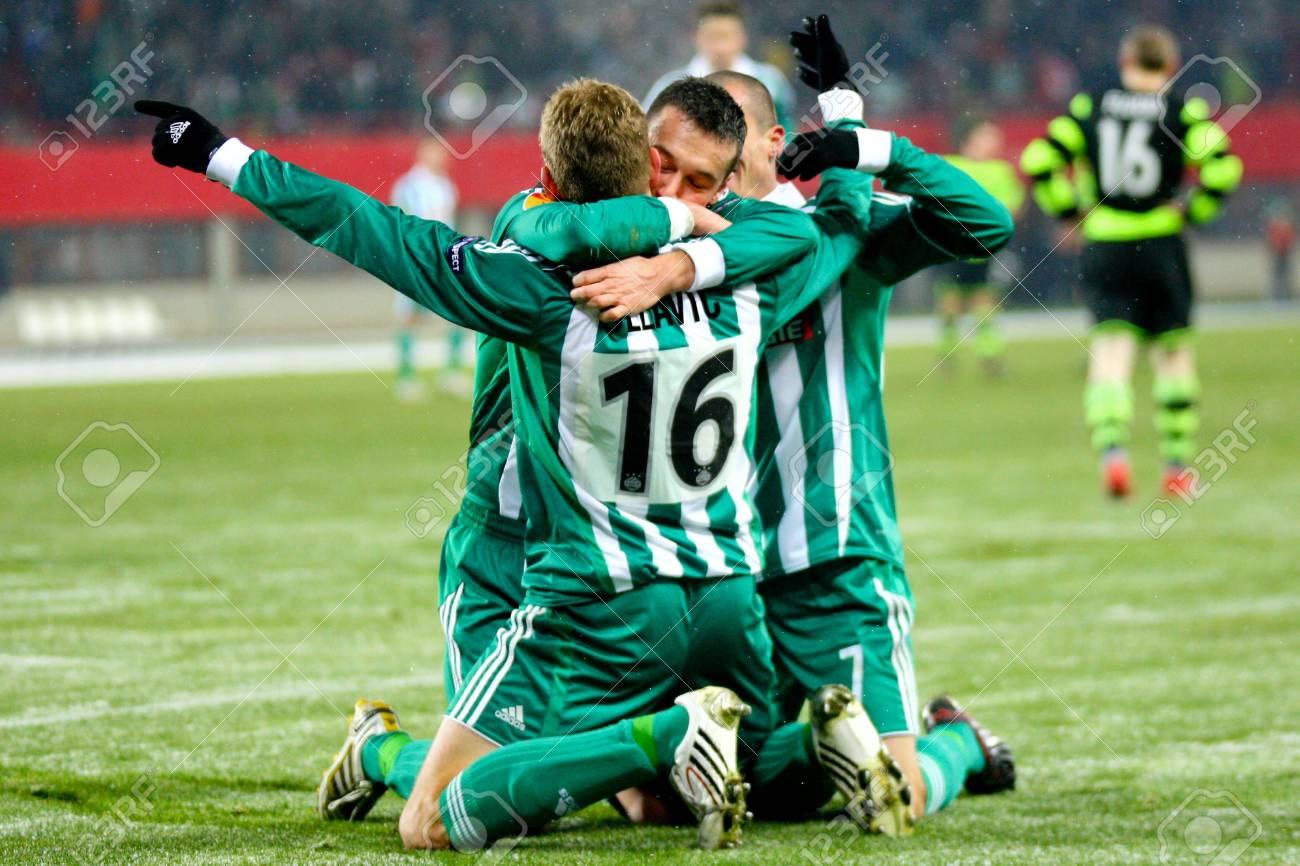 VIENNA,  AUSTRIA - DECEMBER 17 SK Rapid plays 3:3 to Celtic Glasgow on December 17, 2009 in Vienna, Austria. Shown is striker Nikica Jelavic (#16, Rapid). Stock Photo - 8465214