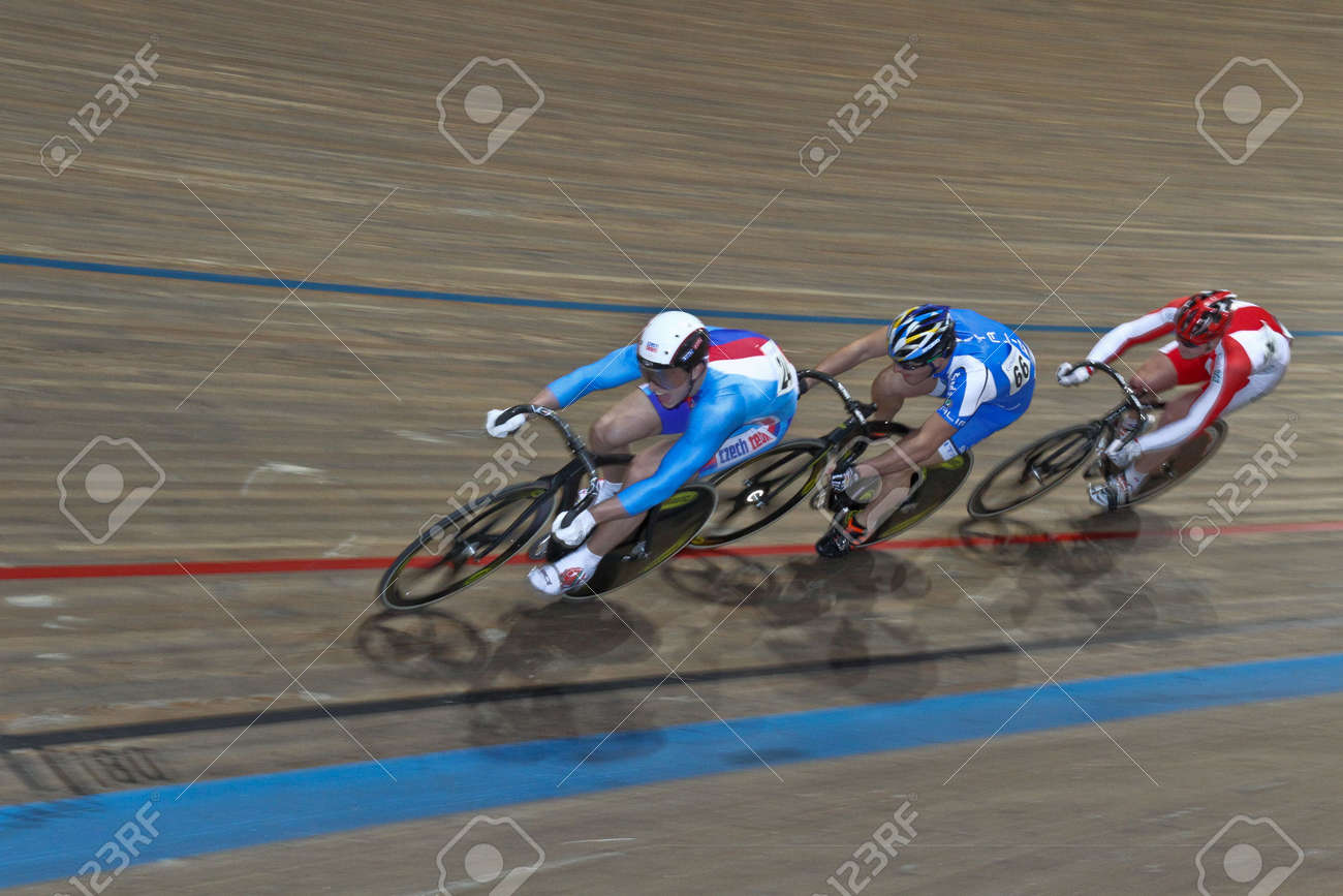 VIENNA,  AUSTRIA - JANUARY 12 Indoor track cycling meeting - Tomas Babek (Czech Republic, left) places second in the men's keirin race on January 12, 2010 in Vienna, Austria. Stock Photo - 8465392