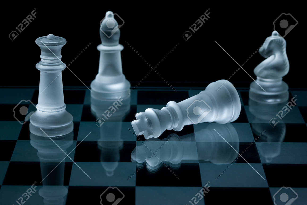Macro shot of glass chess pieces against a black background Stock Photo - 8883568