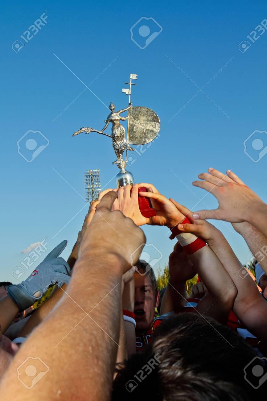 SEVILLA, SPAIN - SEPTEMBER 3 Team Austria celebrates the victory on September 3, 2011 in Sevilla, Spain. Austria beats France 24:14 in the gold medal game. Stock Photo - 12143061