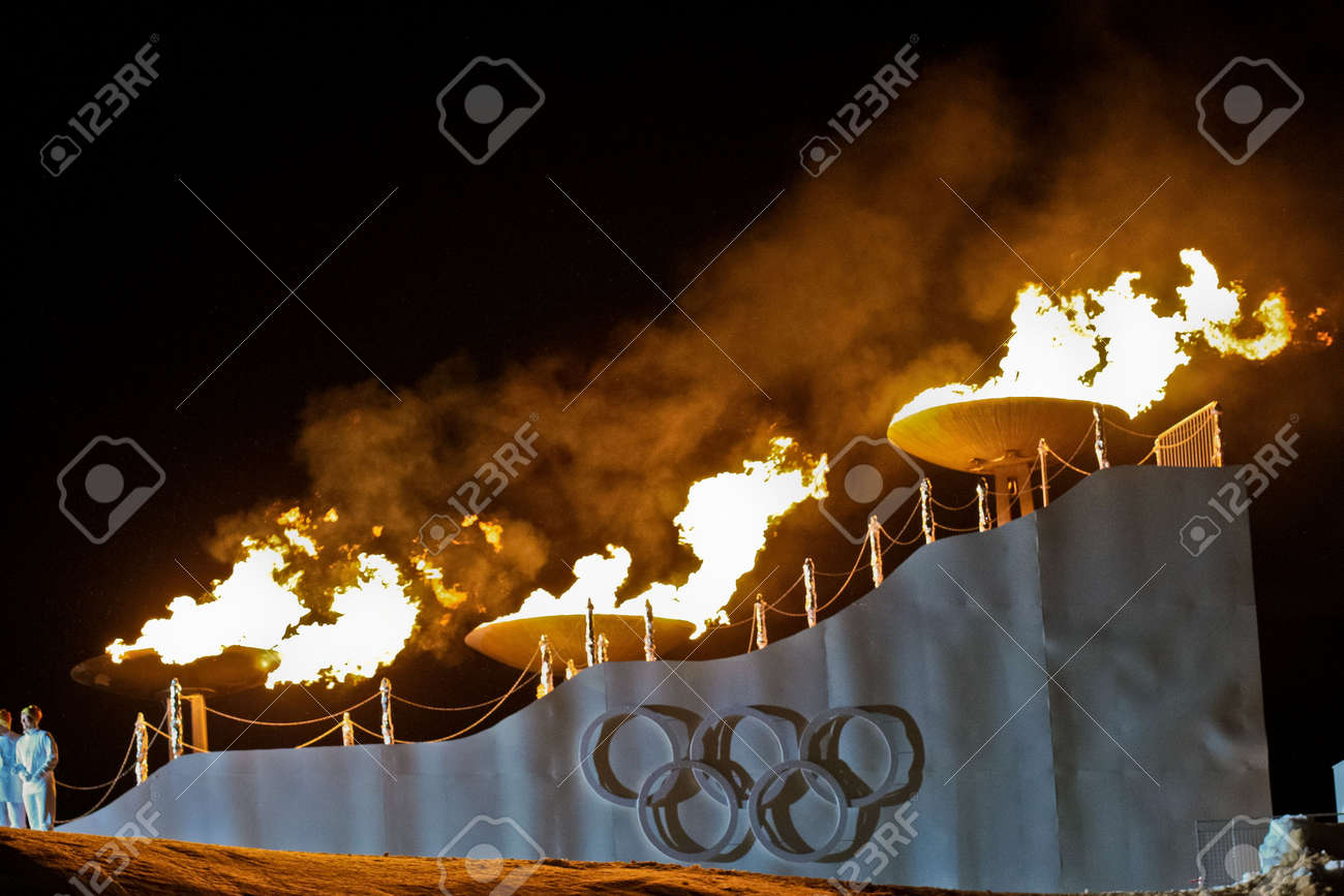 INNSBRUCK, AUSTRIA - JANUARY 13 The olympic fire is burning during the opening ceremony at the Bergisel stadium on January 13, 2012 in Innsbruck, Austria. Stock Photo - 12160273