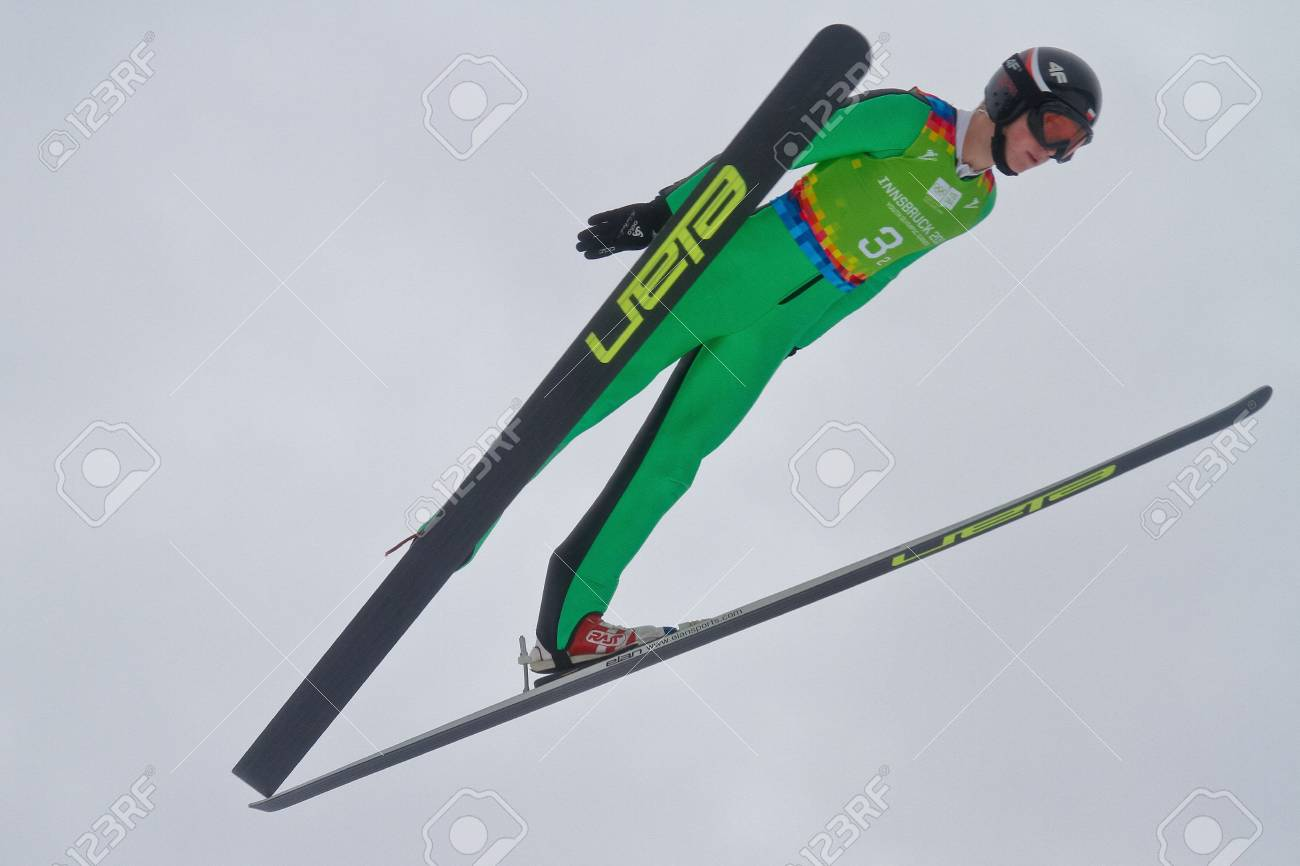 SEEFELD, AUSTRIA - JANUARY 19 Michal Pytel (Poland) jumps in Seefeld during a training session on January 19, 2012 in Seefeld, Austria. Stock Photo - 12160260